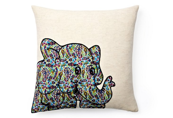 Elephant 16x16 Embroidered Pillow, Multi