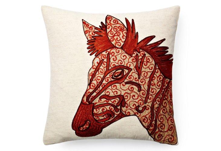 Zebra Pillow, Natural/Orange