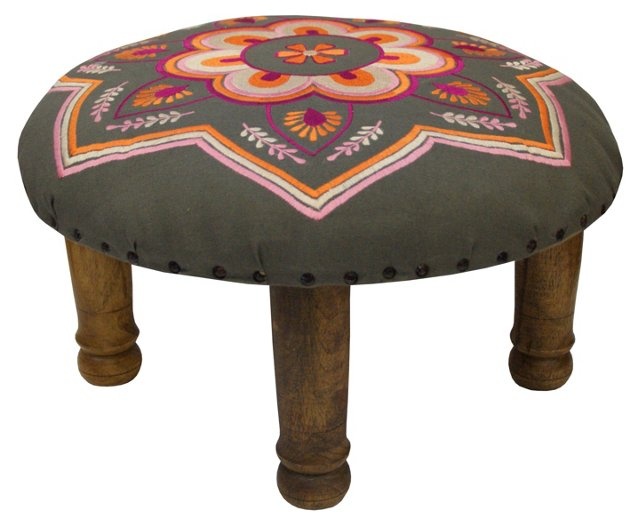Kesar Embroidered Footstool, Gray