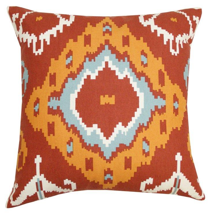 Arizona 20x20 Cotton Pillow, Burnt Red