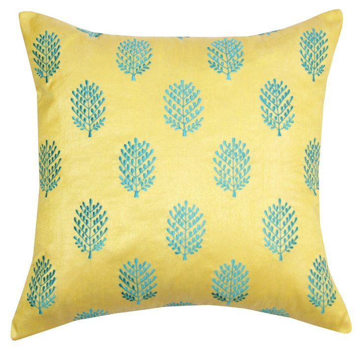Henna 20x20 Embroidered Pillow, Yellow