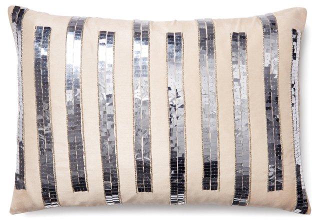 Stripe 14x20 Sequenced Pillow, Silver