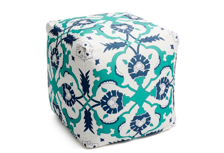 Source Outdoor Pouf, Blue/Multi