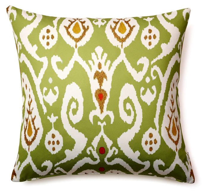 Ikat 20x20 Outdoor Pillow, Green