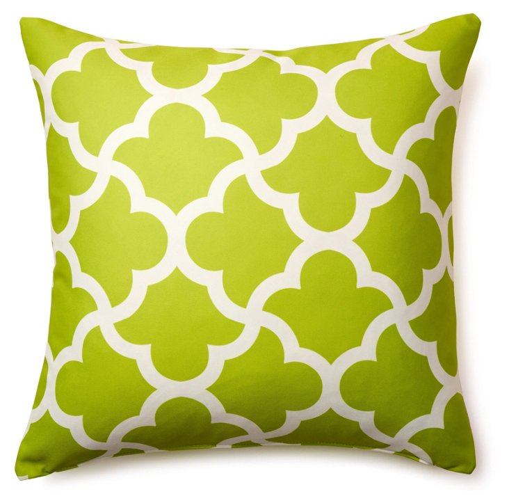 Mirrored 20x20 Outdoor Pillow, Lime