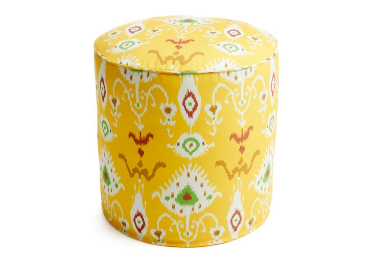 Vision Outdoor Pouf, Yellow/Multi