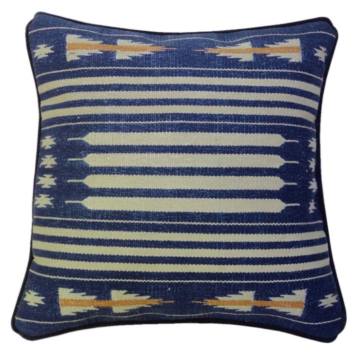 Desert 22x22 Cotton-Blend Pillow, Navy