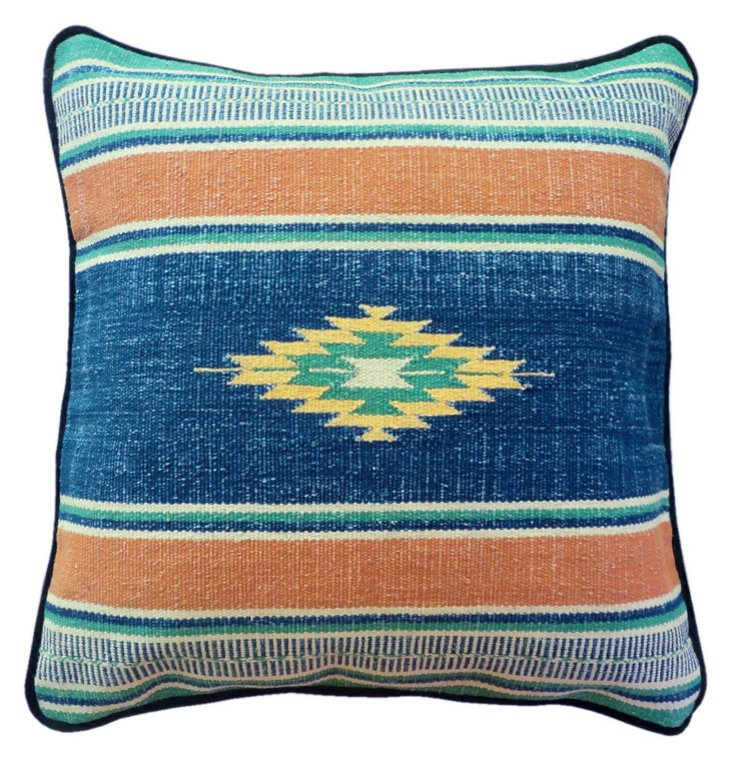 Kilim 22x22 Cotton-Blend Pillow, Blue