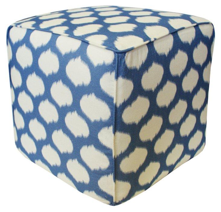 Circle Ikat Pouf, Blue