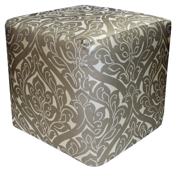 Fontainebleau Pouf, Silver/Taupe