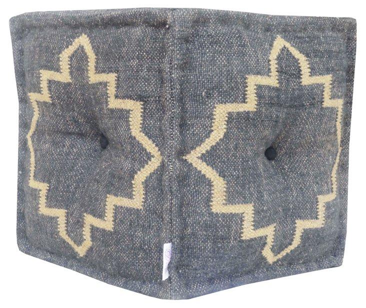 Kilim Square Pouf, Gray/Khaki