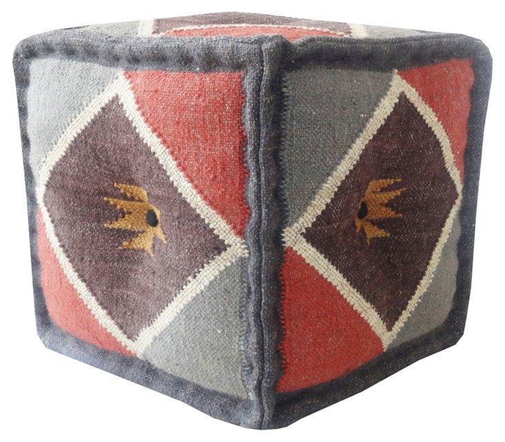 Kilim Square Pouf, Gray/Red