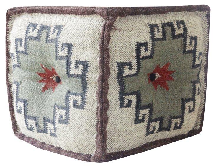 Wool Jute Square Pouf, Brown/Cream