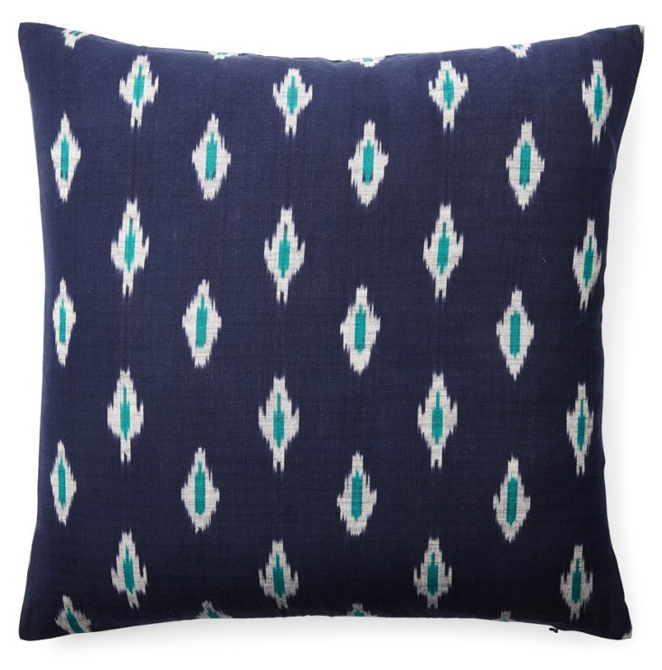 Indigo Ikat 20x20 Cotton Pillow, Navy