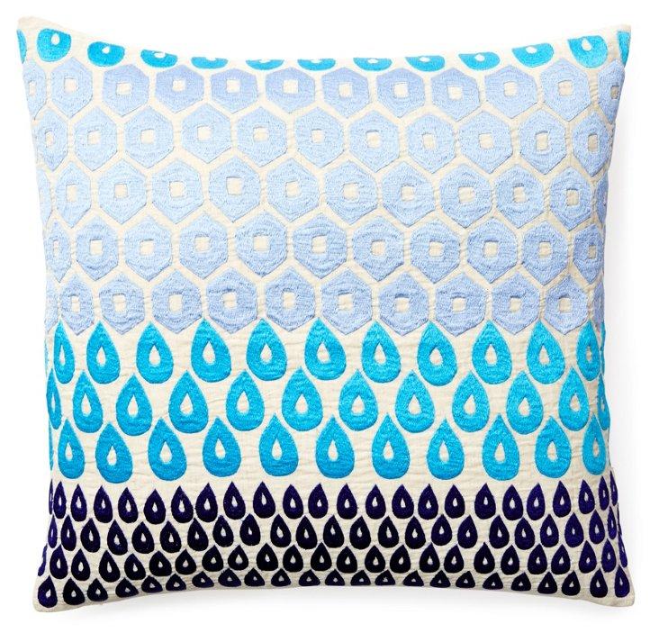 Megha 20x20 Embroidered Pillow, Aqua