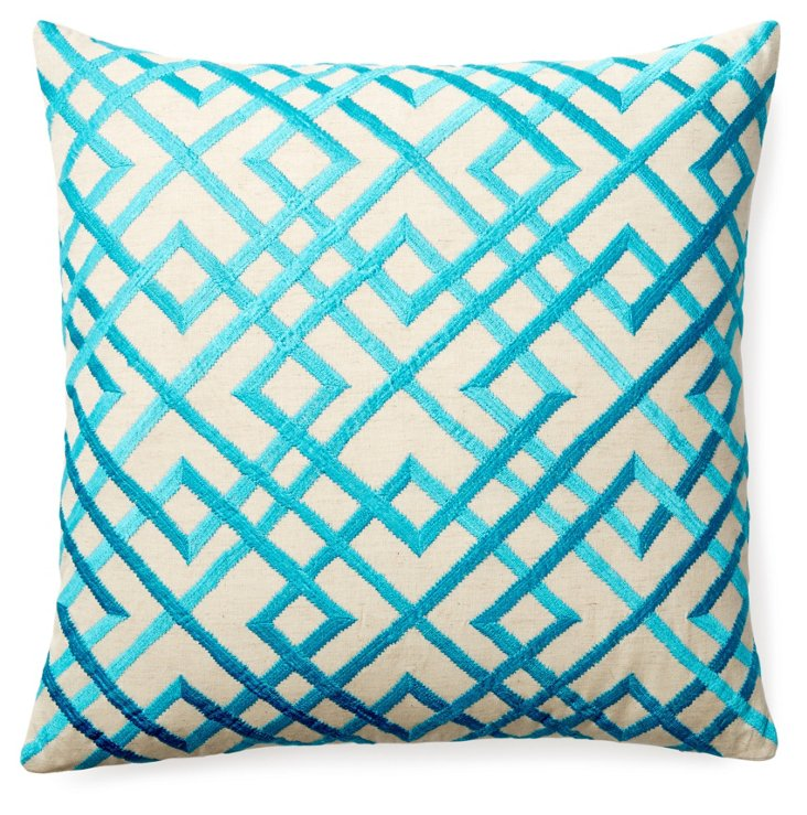 Mani 20x20 Embroidered Pillow, Teal