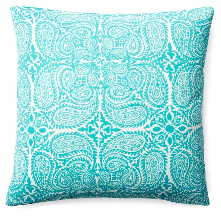 Maya 20x20 Cotton Pillow, Aqua
