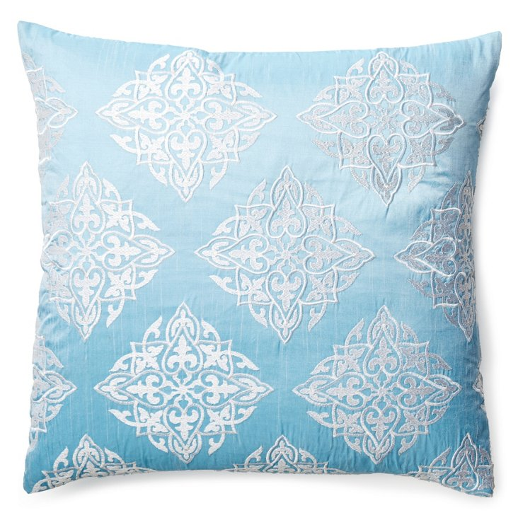 Yash 20x20 Embroidered Pillow, Blue