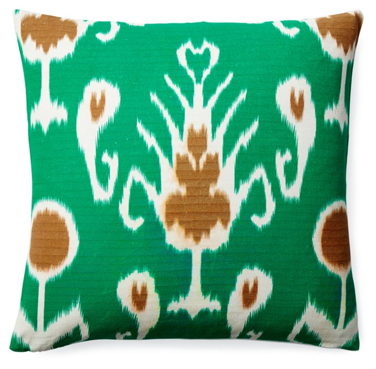 Misha 20x20 Cotton Pillow, Green