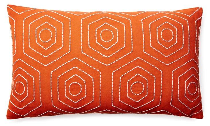 Jiya 14x24 Embroidered Pillow, Orange