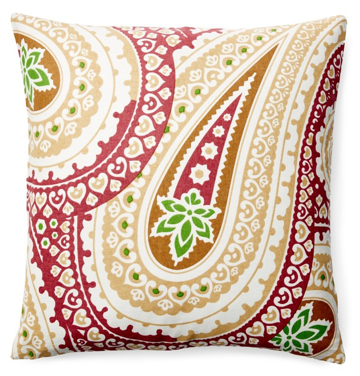 Laxmi 20x20 Cotton Pillow, Red