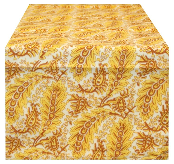 Yellow Feather-Print Runner