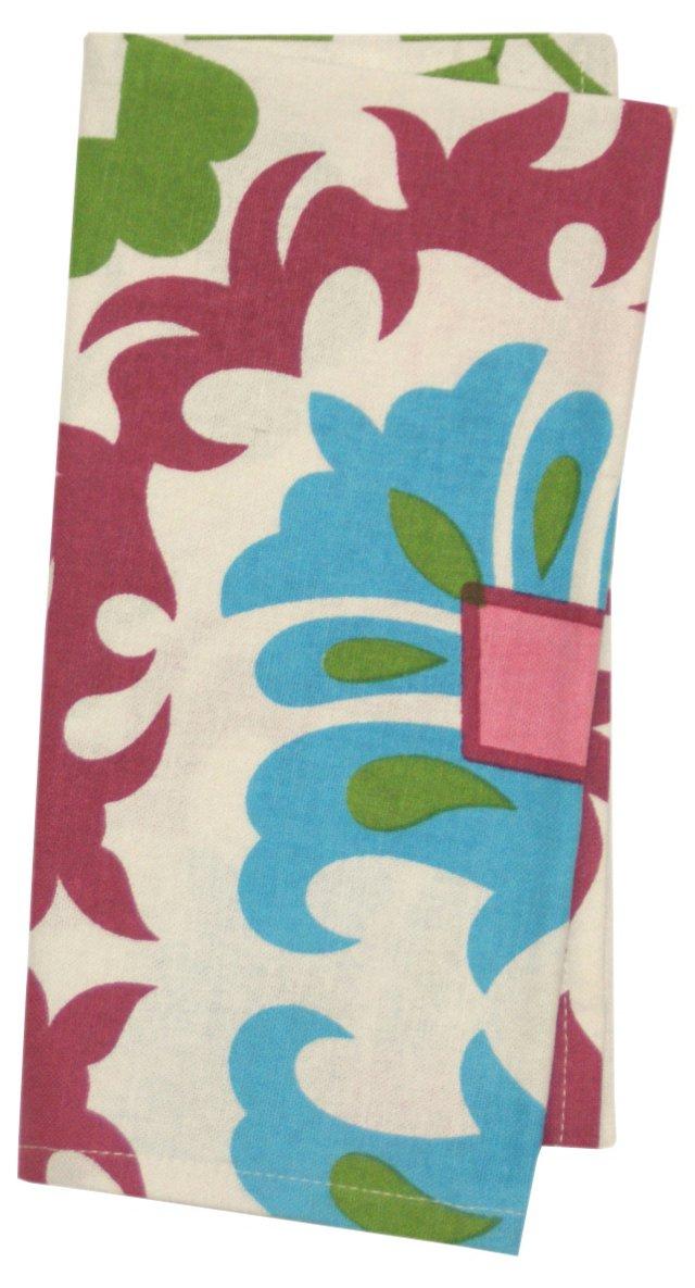 S/4 Suzani Napkins, Pink/Blue