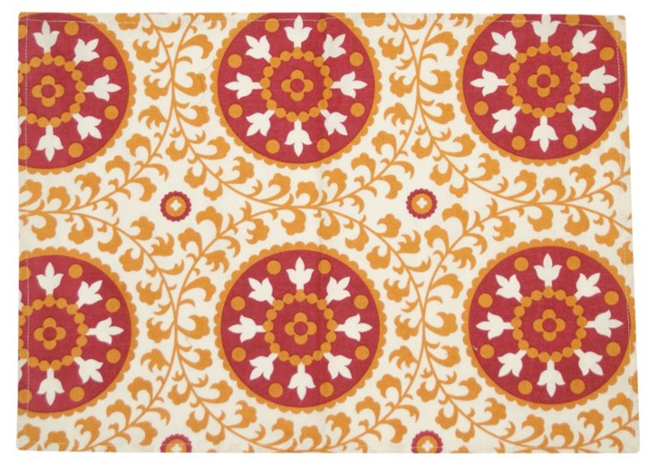 S/4 Assisi Suzani Place Mats, Orange