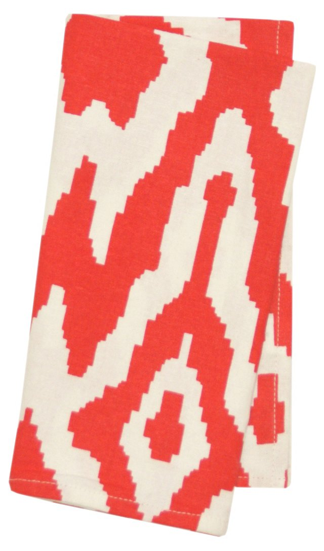 S/4 Overscale Ikat Napkins, Red