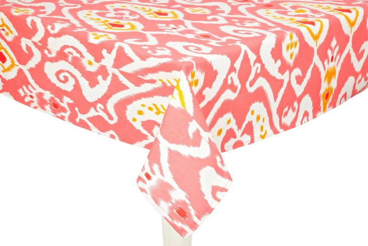Ikat Tablecloth, Coral
