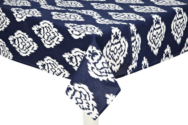 Ikat Damask Tablecloth, Navy