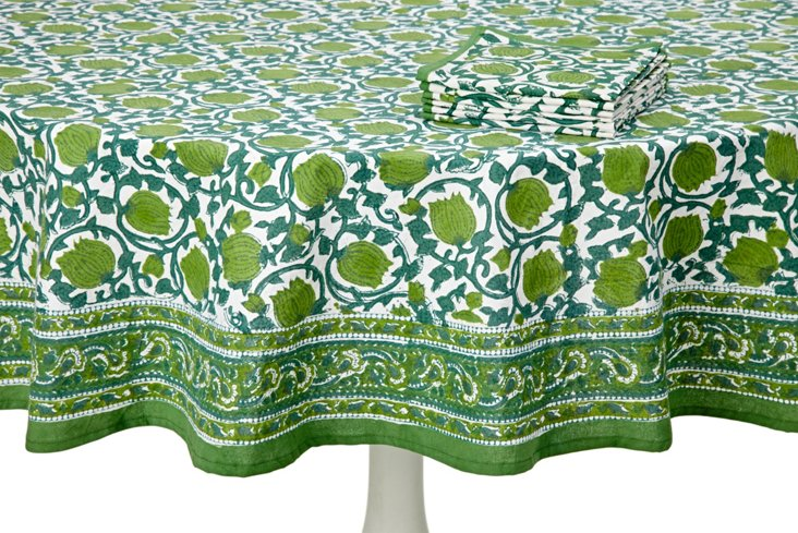 Jaipur Tablecloth and Napkin Set, Green