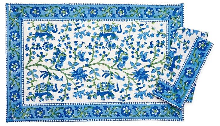 12-Pc Place Mat & Napkin Set, Blue