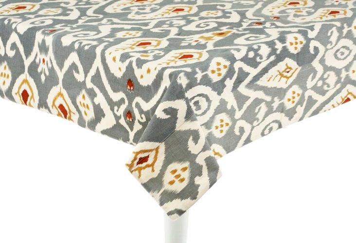 Ikat Tablecloth, Gray