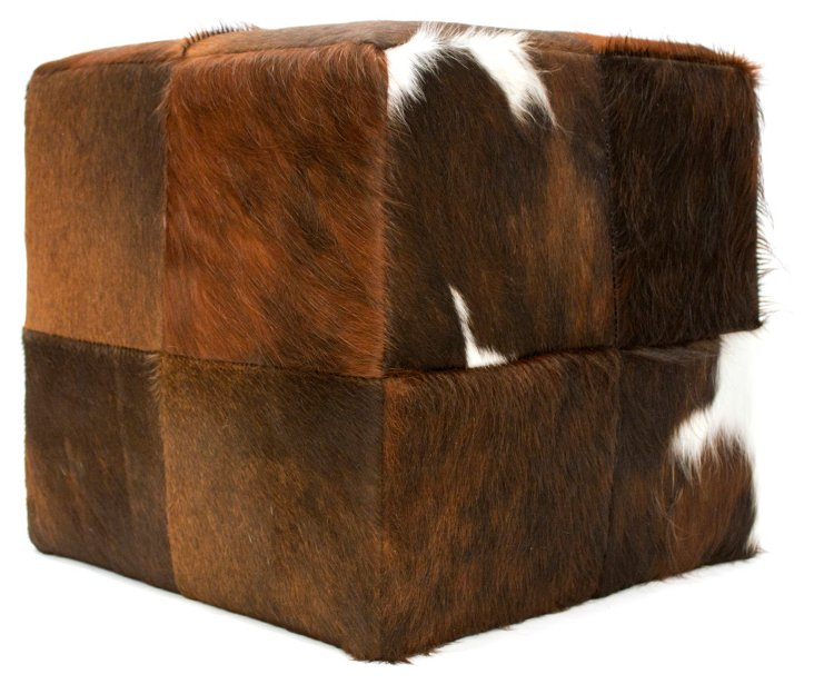 Hide Cube Ottoman, Brown/Black