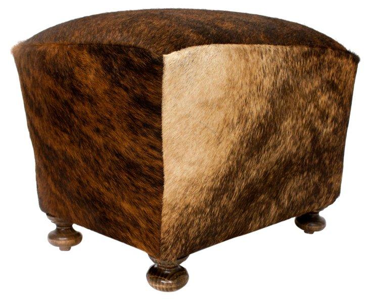 *Hide Footstool, Brown/Black