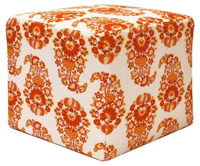 Mitchell Paisley Pouf, Tangerine/Cream