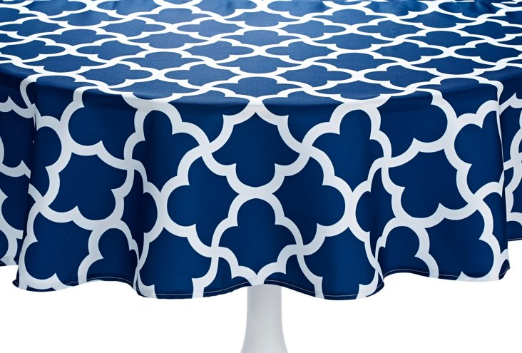 Murano Round Tablecloth, Navy