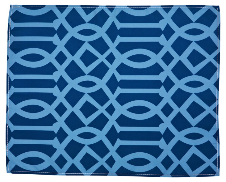 S/4 Trellis Outdoor Place Mats, Navy