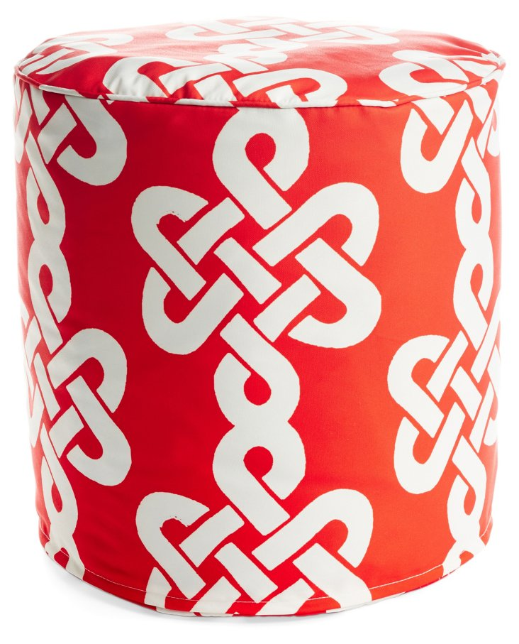 Newport Outdoor Pouf, Red/White