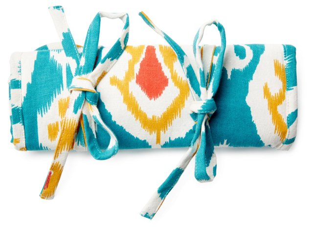 Ikat Cotton Jewelry Roll, Teal
