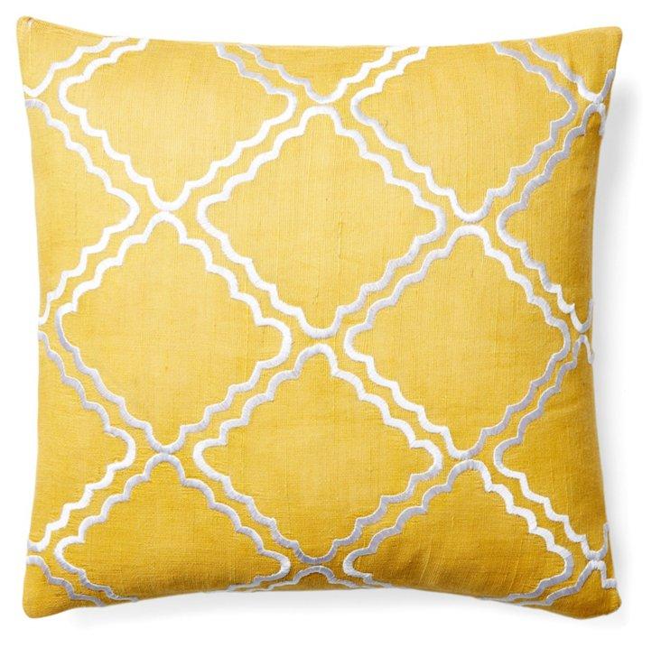 Malibu 20x20 Embroidered Pillow, Mustard