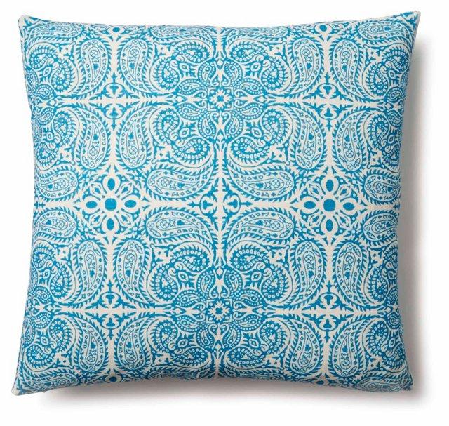 Maya 20x20 Cotton Pillow, Blue