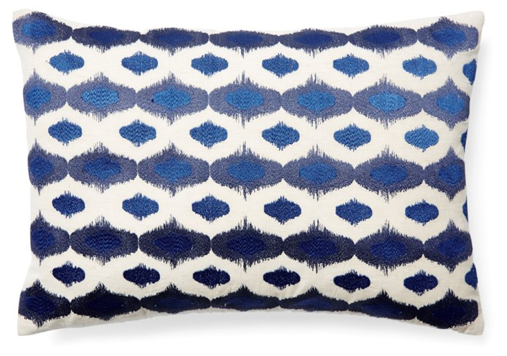 Ritu 14x20 Embroidered Pillow, Blue
