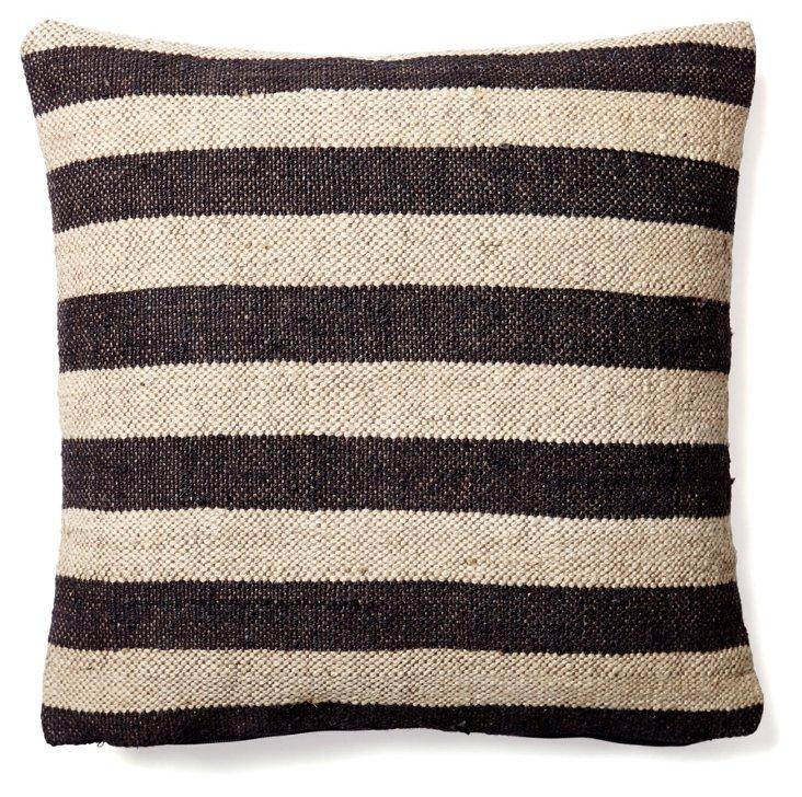 Stripe 20x20 Wool-Blend  Pillow, Black