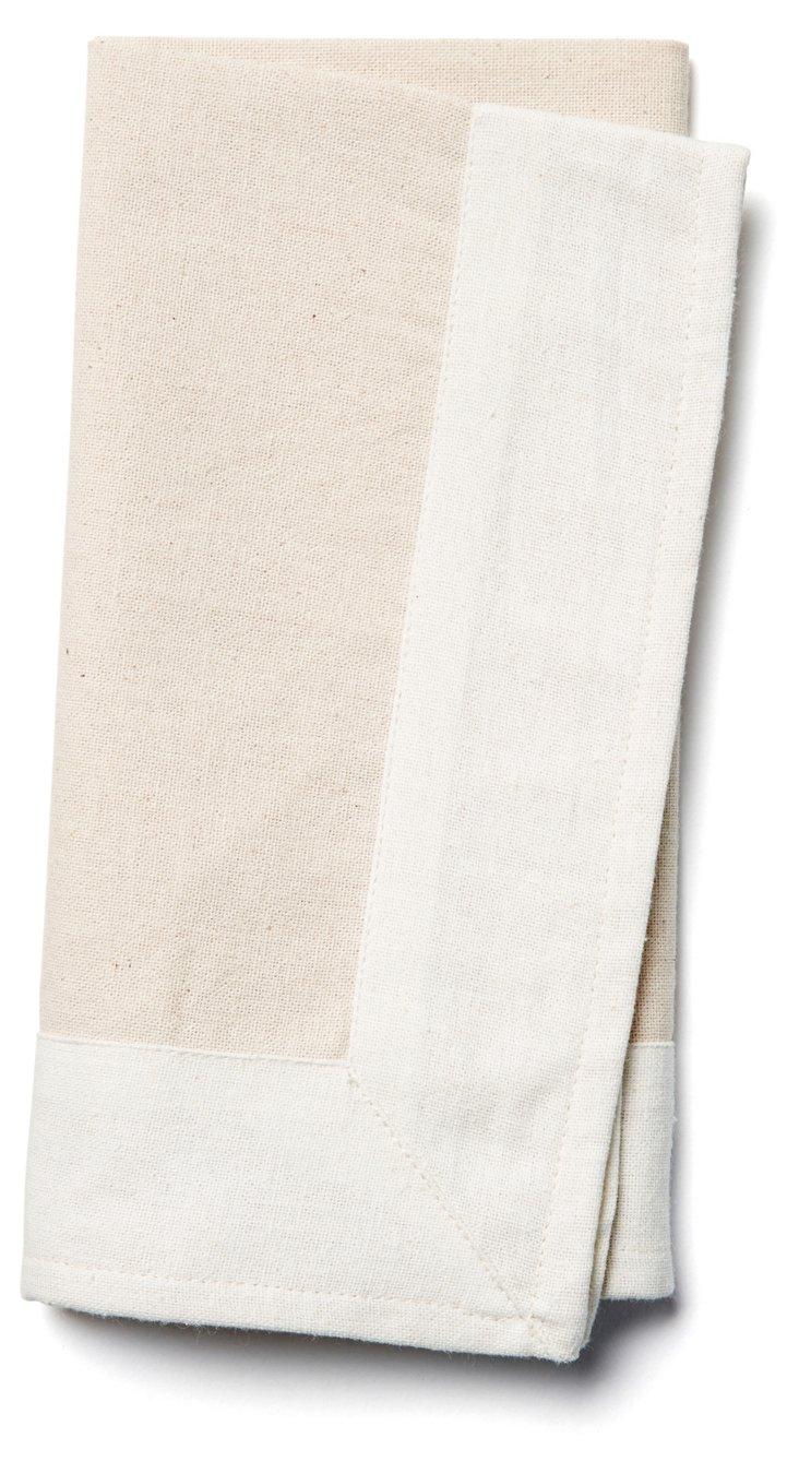 S/4 Border Napkins, Flax/White