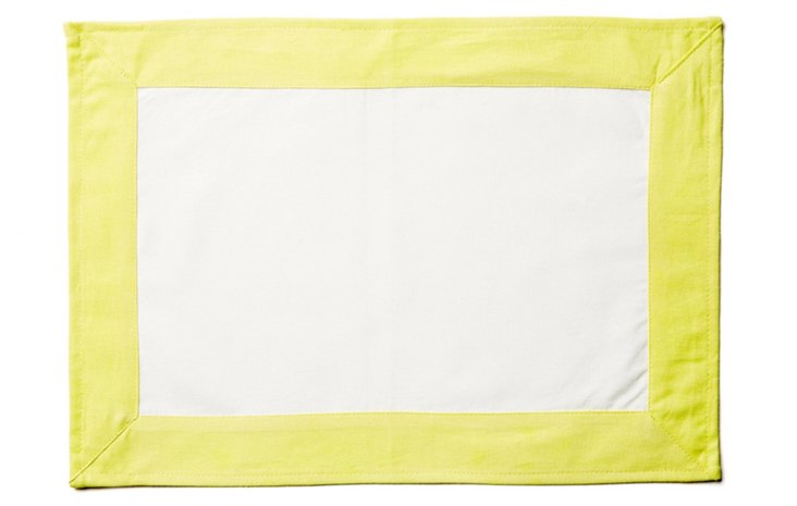 S/4 Wide-Border Place Mats, White/Yellow
