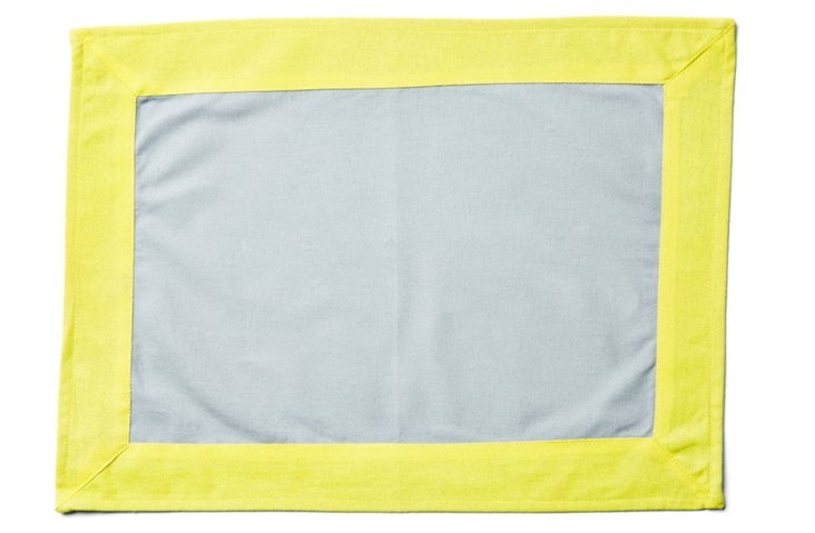S/4 Wide-Border Place Mats, Gray/Yellow