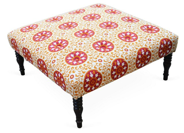 Pencey Ottoman, Red/Multi