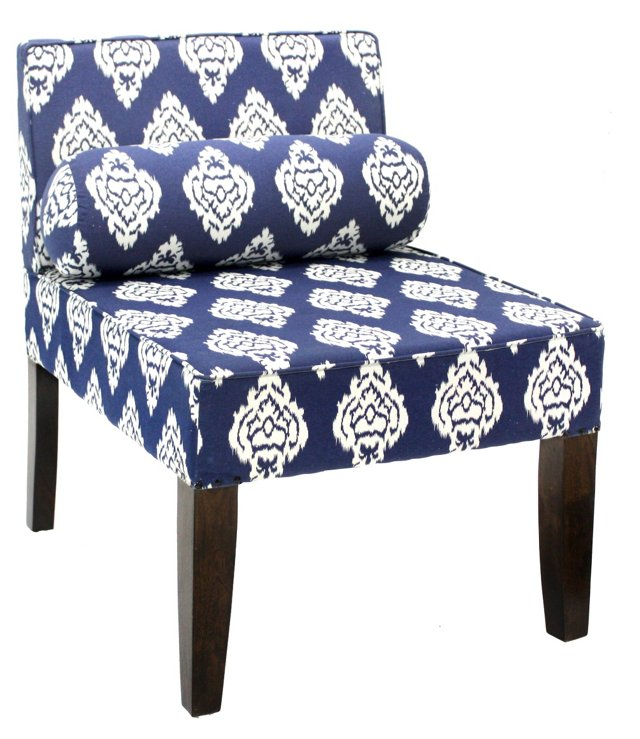 Isabelle Armless Chair, Navy Ikat